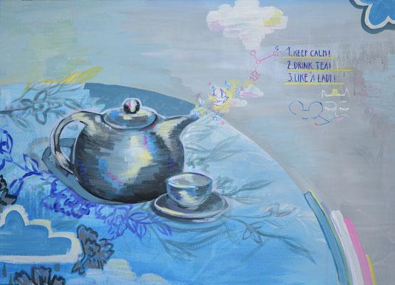"""Drink tea like a lady"", Acryl auf Leinwand, Auftragsarbeit"