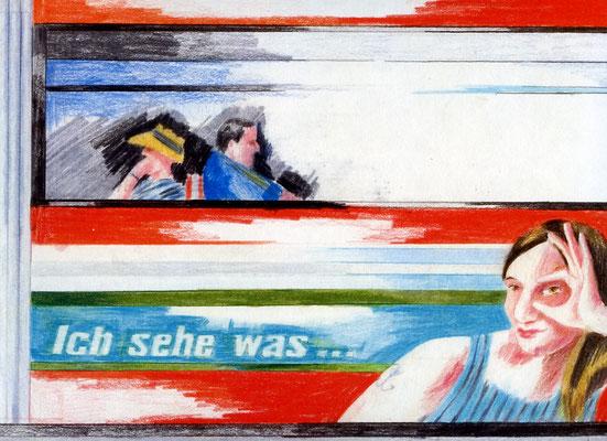 """Frontcover des Bilderbuchs """"...und das ist rot!"""", Farbstift auf Papier"""