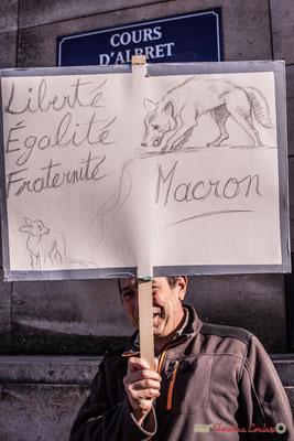 """""""Liberté, égalité, fraternité (par) Macron"""" ou la fable  du loup et du faon. Manifestation intersyndicale contre les réformes libérales de Macron. Bordeaux, 16/11/2017"""