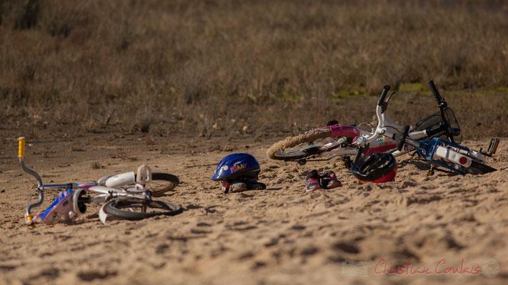 Vélos d'enfants. Domaine de Graveyron, Audenge, espace naturel sensible de Gironde