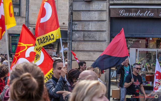 """""""Ya Basta Grève générale"""" Manifestation contre la réforme du code du travail. Place Gambetta, Bordeaux, 12/09/2017"""
