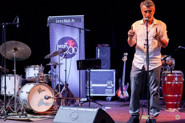 Vincent Michelet, élu de Latresne présente Mayomi Moreno Project. Festival JAZZ360 2018, Latresne. 10/06/2018
