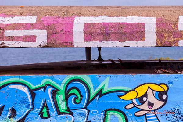 """Graffs """"Raid"""" & """"Goy"""", détails. Bunker, batterie des Arros, mur de l'Atlantique, Soulac-sur-Mer. Samedi 3 juillet 2021. Photographie © Christian Coulais"""