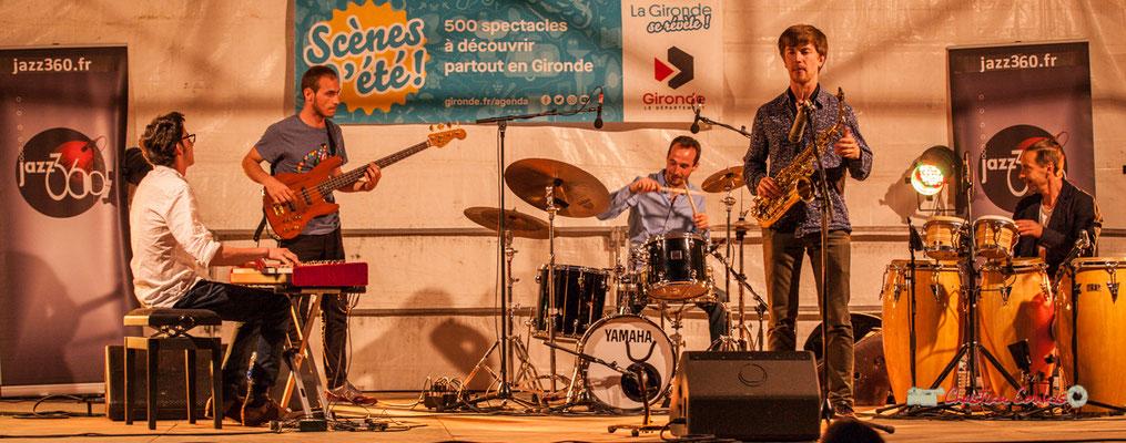 Adrien Brandéis, Romann Dauneau, Félix Joveniaux, Joachim Poutaraud, Philippe Ciminato; Adrien Brandéis Quintet, Festival JAZZ360 2019, Langoiran. 06/06/2019