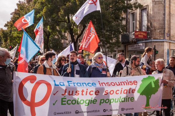 La France insoumise, justice sociale, écologie populaire. Manifestation intersyndicale, Bordeaux, mardi 5 octobre 2021. Photographie © Christian Coulais