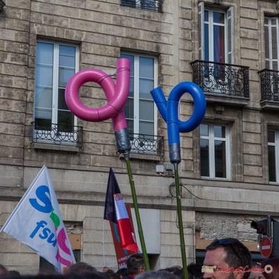 """Phi... rose et bleu, n'est-ce pas un peu Manif pour tous ?"""" Manifestation du 1er mai 2017, avec la France Insoumise, cours d'Albret, Bordeaux"""