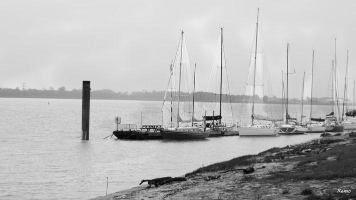 (Noir et blanc) Le port de plaisance à Bourg-sur-Gironde, samedi 26 septembre 2020. Photographie HDR © Raymond Joubert