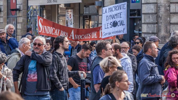 """""""La macronite dynamite le social. Gare aux retombées !"""" Manifestation contre la réforme du code du travail. Place Gambetta, Bordeaux, 12/09/2017"""