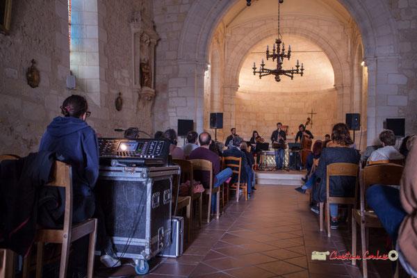 Charlotte Léric assure le son pour l'ensemble François Poitou Quintet. Festival JAZZ360 2019, Cénac. 07/06/2019