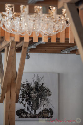 Dans l'Asinerie, « Still life-flowers », œuvres de Gérand Rancinan, 2015, Domaine de Chaumont-sur-Loire. Mercredi 26 août 2015. Photographie © Christian Coulais