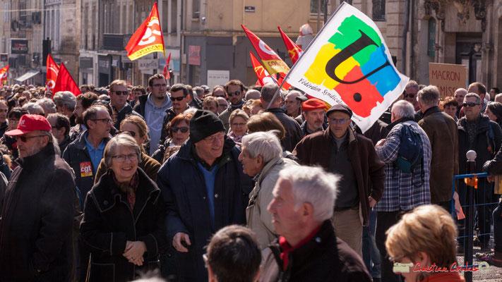 14h20 Manifestation intersyndicale de la Fonction publique/cheminots/retraités/étudiants, place Gambetta, Bordeaux. 22/03/2018