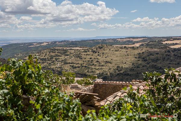 Au-delà du village d'Ujué, la plaine de la Ribera / Más allá del pueblo de Ujué, la llanura de la Ribera