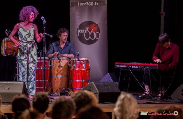 Mayomi Moreno, Lionel Galletti, Michaël Geyre; Mayomi Moreno Project. Festival JAZZ360 2018, Latresne. 10/06/2018