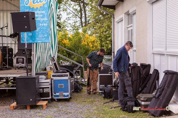 Dorian  Hallad Daubresse et Pablo Jaraute sont à l'œuvre pour ce changement de plateau pour Adrien Brandéis Quartet. Festival JAZZ360, Parc du Château de Pomarède, Langoiran. 06/06/2019