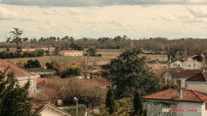 Vue panoramique sud-est, depuis le clocher-mur de l'église Saint-André, Cénac. 18/02/2010