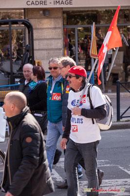 14h31 Ouvrier Ford/CGT/PCF. Manifestation intersyndicale de la Fonction publique/cheminots/retraités/étudiants, place Gambetta, Bordeaux. 22/03/2018