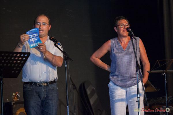 Christophe Miqueu, Nathalie Chollon-Dulong, candidats aux élections législatives La France insoumise. Concert de soutien de la 12ème circonscription de la Gironde. 28/05/2017, Targon