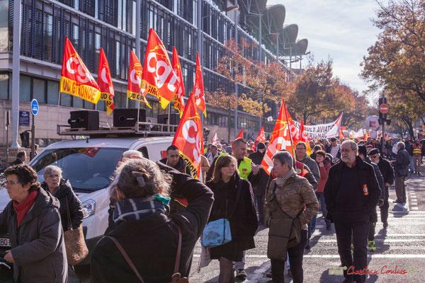CGT UD Gironde. Manifestation intersyndicale contre les réformes libérales de Macron. Cours d'Albret, Bordeaux, 16/11/2017