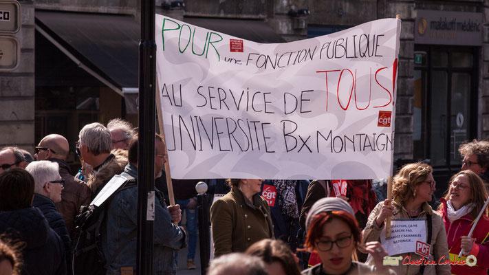 """14h51 """"Pour une fonction publique au service de tous ! Université Bordeaux-Montaigne"""" """"La sélection, ça ne marche pas. Regardez l'Assemblée nationale..."""" Manifestation intersyndicale de la Fonction publique, place Gambetta, Bordeaux. 22/03/2018"""