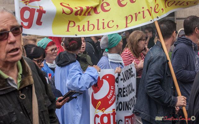 Union Syndicale Départementale de la Gironde Santé et Action Sociale, Public, Privé, tous ensemble. Manifestation contre la réforme du code du travail. Place Gambetta, Bordeaux, 12/09/2017