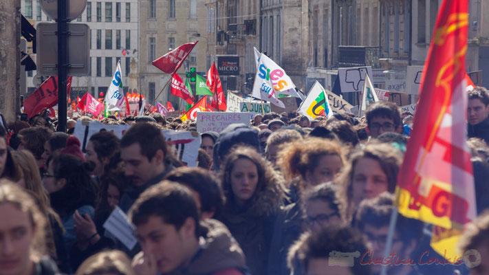 14h24, les premiers syndicats s'annoncent rue du Docteur Charles Nancel Penard, Bordeaux