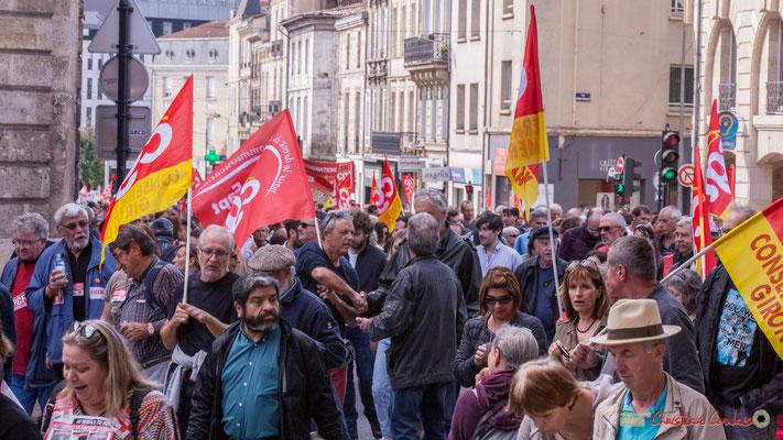 C.G.T. Conseil général de la Gironde. Manifestation intersyndicale de la Fonction publique, place Gambetta, Bordeaux. 10/10/2017