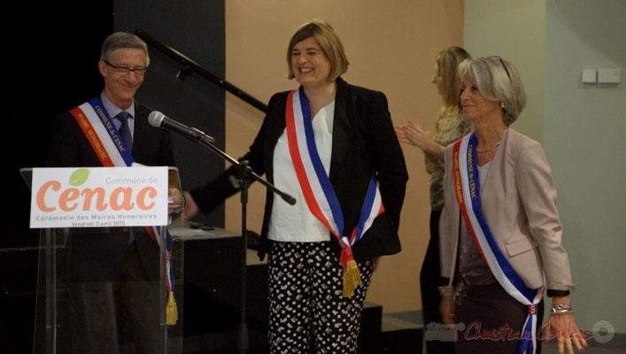 Gérard Pointet, Maire honoraire de Cénac; Catherine Veyssy, Maire de Cénac; Simone Ferrer, Maire honoraire de Cénac; vendredi 3 avril 2015