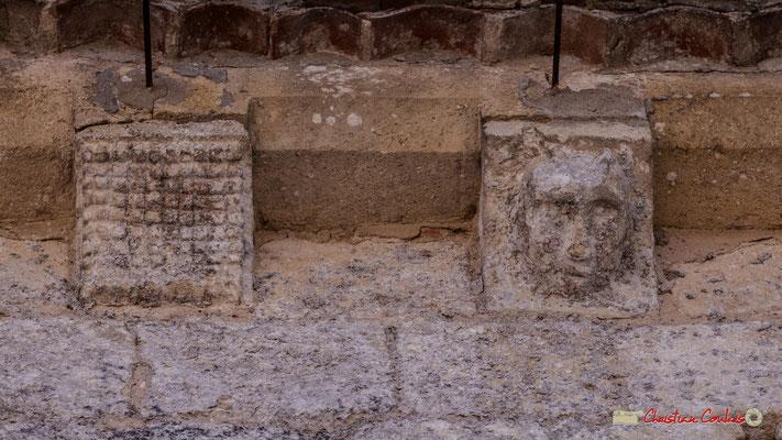 Deux modillons; un damier, une tête de démon cornu. Eglise Saint-André, Cénac. 11/05/2018