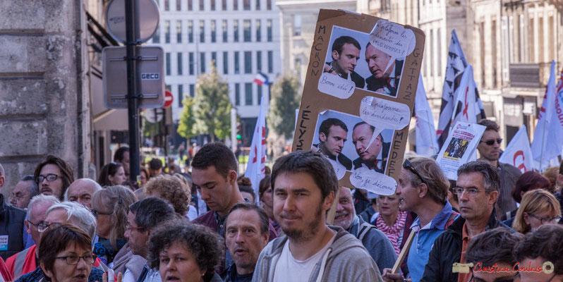 Macron Elysée / Gattaz MEDEF. Manifestation intersyndicale de la Fonction publique, place Gambetta, Bordeaux. 10/10/2017