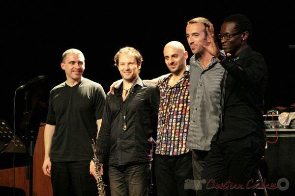 """Rappel"" Jean-Yves Jung, Frédéric Borey, Mauro Gargano, Sylvain Gontard, Roger 'Kemp' Biwandu; Roger Biwandu Quintet, Festival JAZZ360 2011, Cénac. 03/06/2011"