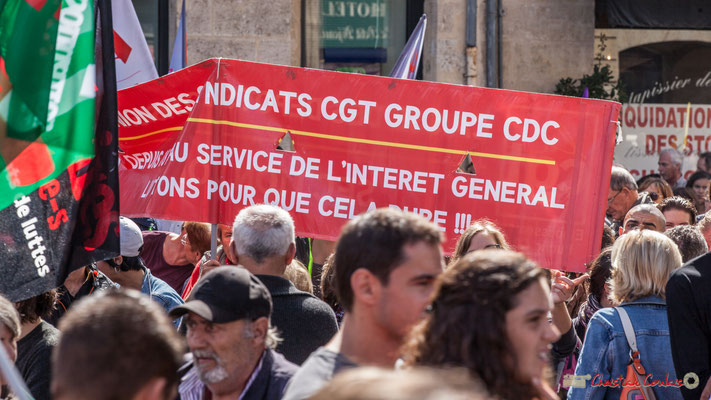 Union des Syndicats CGT groupe CDC. Manifestation contre la réforme du code du travail. Place Gambetta, Bordeaux, 12/09/2017