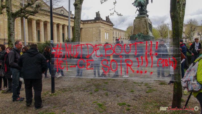 """Manifestation contre le projet de loi Travail """"El Khomri"""", place de la République, Bordeaux. 09/04/2017"""