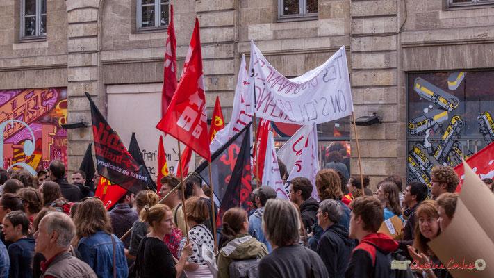 Solidaires Etudiant-e-s. Manifestation intersyndicale de la Fonction publique, place Gambetta, Bordeaux. 10/10/2017