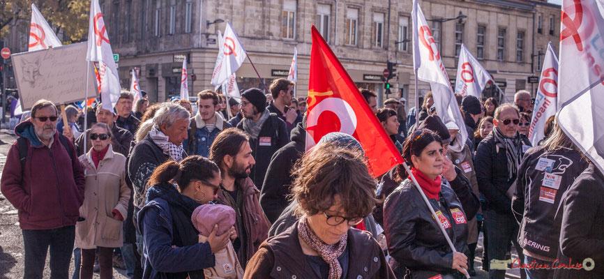 La France insoumise. Manifestation intersyndicale contre les réformes libérales de Macron. Cours d'Albret, Bordeaux, 16/11/2017