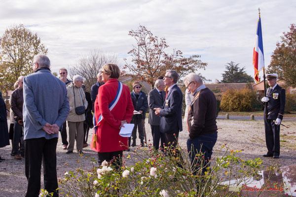Commémoration de l'Armistice du 11 novembre 1918; Gérard Pointet, Président des Anciens combattants; Catherine Veyssy, Maire de Cénac; samedi 11 novembre 2017