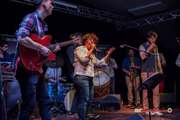 Jules Rousseau, Thomas Boudé, Rita Macedo, Brice Matha, Tanguy Bernard; le Parti Collectif. Festival JAZZ360 2019, Latresne, 09/06/2019