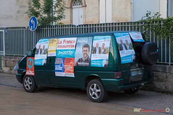 Permanence mobile de la France insoumise, sur la 12ème de la Gironde. 6h30/9h00, tractage auprès des personnels hospitaliers du C.H.S. et de l'U.M.D. de Cadillac. 01/06/2017