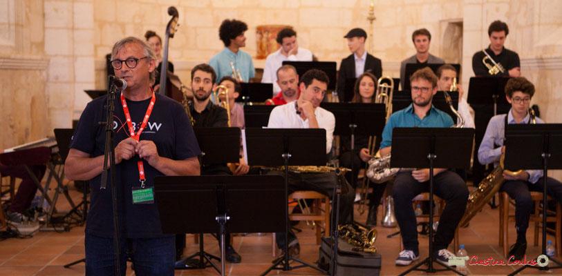 Richard Raducanu, Président de JAZZ360 explique pourquoi le repli de la scène dans l'église Saint-André. Festival JAZZ360 2018, Cénac. 09/06/2018