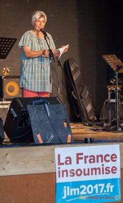 Nathalie Aubin , Maire de Haux, marraine du Comité de soutien. Concert de soutien des Insoumis de la 12ème circonscription de la Gironde. 28/05/2017, Targon