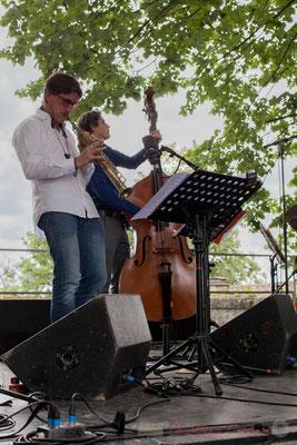 Eric Séva Quartet : Eric Séva, Kevin Reveyrand. Festival JAZZ360 2016, Camblanes-et-Meynac, 11/06/2016