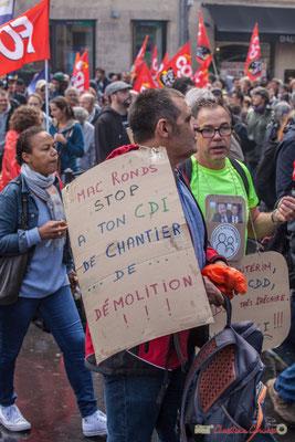 """""""Mac Ronds Stop à ton CDI de chantier de démolition ! ! !"""" Manifestation contre la réforme du code du travail. Place Gambetta, Bordeaux, 12/09/2017"""