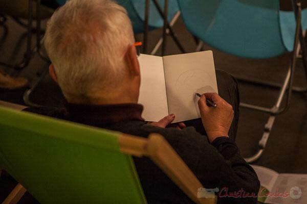 Eric Lefeuvre, artiste-peintre, entame son premier dessin. Le Rocher de Palmer, 12/12/2015. Reproduction interdite - Tous droits réservés © Christian Coulais
