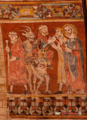 Détail d'une peinture médiévale de l'église Saint-Sauveur, village fortifié de Saint-Macaire. 28/09/2019. Photographie © Christian Coulais