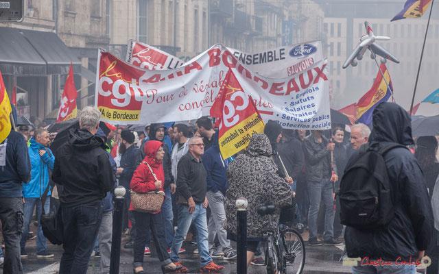 """CGT A.I.A. Bordeaux """"Pour de véritables conquêtes sociales"""" Manifestation contre la réforme du code du travail. Place Gambetta, Bordeaux, 12/09/2017"""