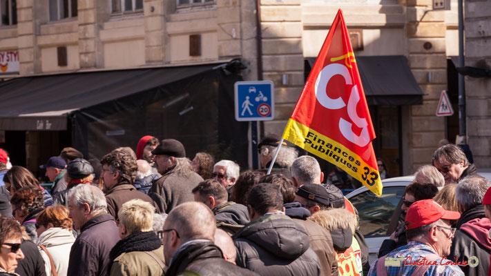 14h25 CGT Finances publiques 33. Manifestation intersyndicale de la Fonction publique/cheminots/retraités/étudiants, place Gambetta, Bordeaux. 22/03/2018