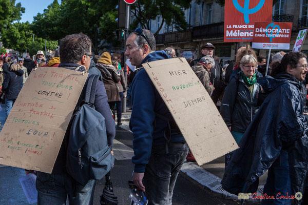 """""""Loi travail toujours contre, Partage du travail toujours pour...Richesses aussi (rappel)"""" Manifestation du 1er mai 2017, avec la France Insoumise, cours d'Albret, Bordeaux"""