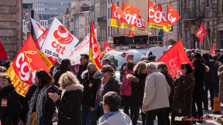 14h18 CGT union départementale Gironde, unions locales de Bordeaux, Libourne. Manifestation intersyndicale de la Fonction publique/cheminots/retraités/étudiants, place Gambetta, Bordeaux. 22/03/2018