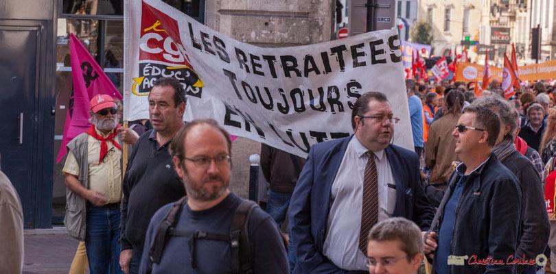 """""""Les retaité-es toujours en lutte"""" Manifestation intersyndicale de la Fonction publique, place Gambetta, Bordeaux. 10/10/2017"""