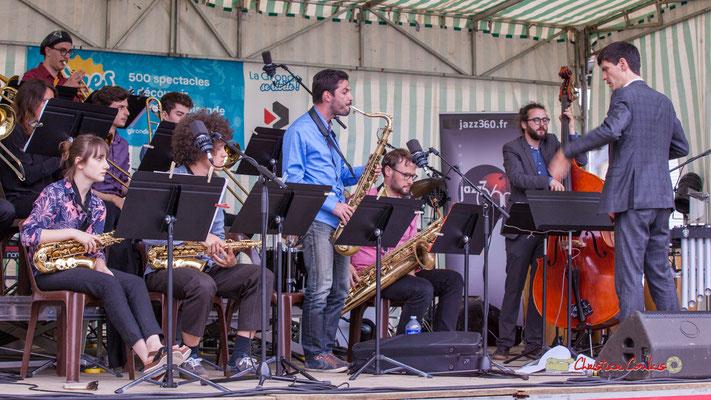 Solo de Julien Deforges; Big Band du Conservatoire Jacques Thibaud. Festival JAZZ360 2019, parc du château de Pomarède, Langoiran. 06/06/2019