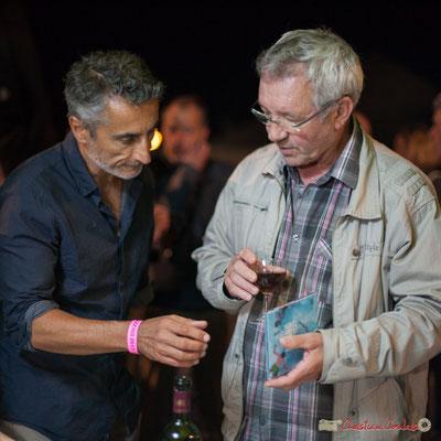 Vincent Michelet, adjoint au Maire de Latresne; Bernard Capdepuy, conseiller municipal à Quinsac. Après-concert, Festival JAZZ360, 09 juin 2017